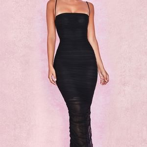 House of CB Black Mesh Maxi Dress